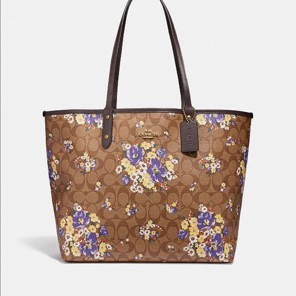 Coach Reversible City Tote Medley Bouquet Print. NWT 7c3b045775784